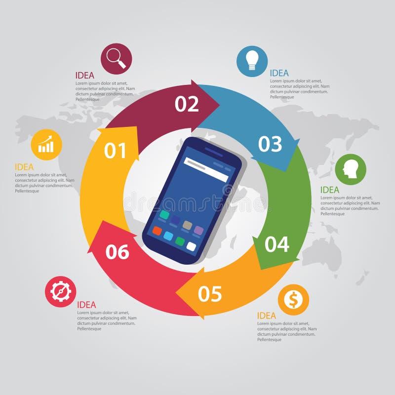 La flecha brillante del círculo del Smart-teléfono de comunicación de la tecnología de la plantilla del color móvil del informaci libre illustration