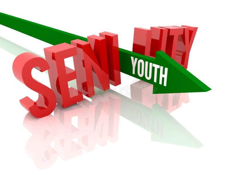 La flecha con la juventud de la palabra rompe senilidad de la palabra. stock de ilustración