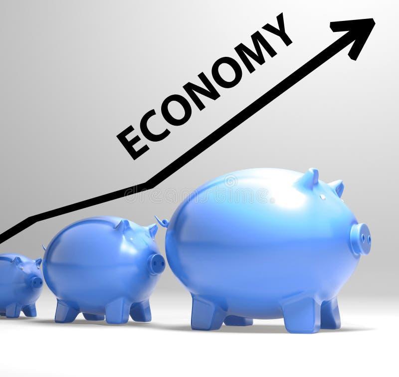 La flecha de la economía significa el sistema económico y finanzas libre illustration