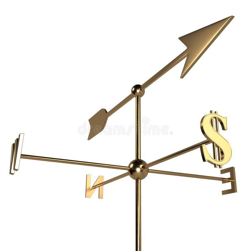 La flecha de la paleta de tiempo de oro indica el índice de la muestra de dólar 3d rinden libre illustration