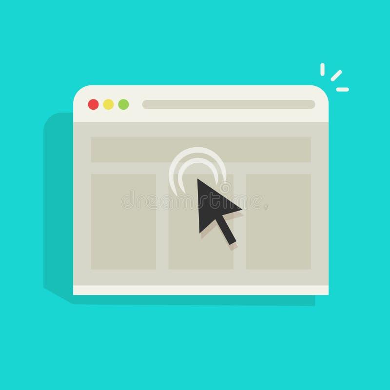 La flecha del ratón hace clic en el icono del vector de la ventana del sitio web del navegador, el hacer clic negro del cursor libre illustration