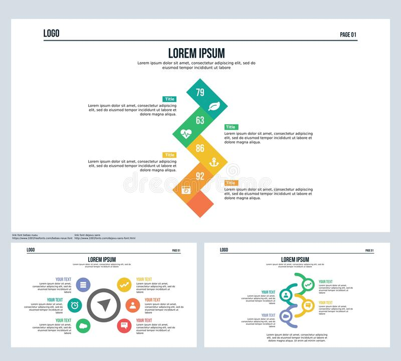 La flecha, elemento de la rotación, fijó la diapositiva de la presentación y la plantilla de PowerPoint ilustración del vector