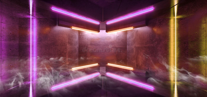 La flecha futurista de Sci Fi del humo formó virtual reflexivo oscuro concreto del Grunge púrpura amarillo vibrante del pasillo d stock de ilustración