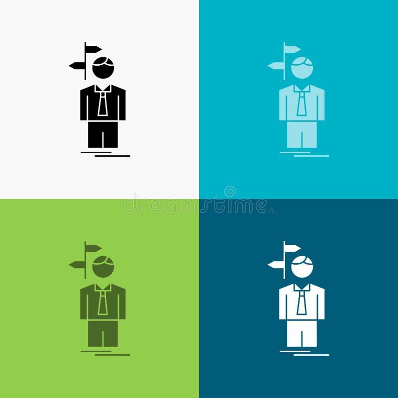 La flecha, opción, elige, la decisión, icono de la dirección sobre diverso fondo dise?o del estilo del glyph, dise?ado para el we stock de ilustración