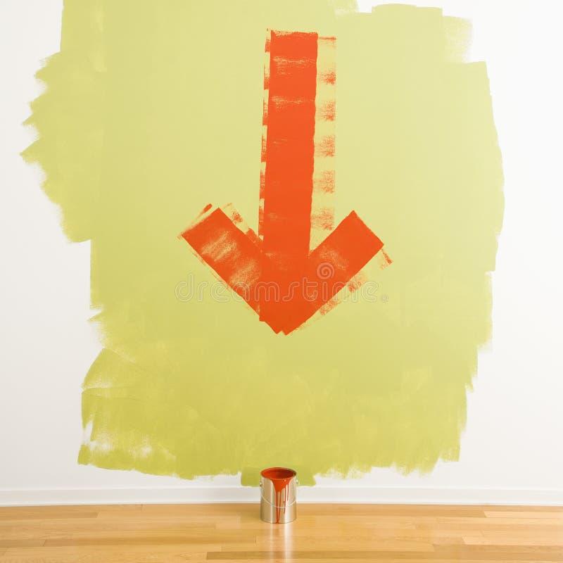 La flecha a pintar puede. fotografía de archivo