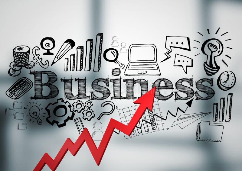 La flecha roja con negocio negro garabatea contra oficina gris borrosa stock de ilustración