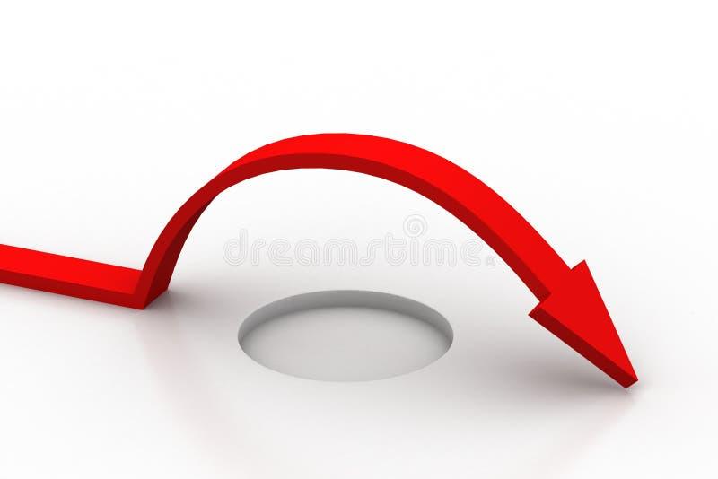 La flecha roja supera el obstáculo ilustración del vector