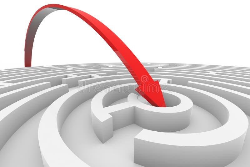 La flecha salta al centro del laberinto blanco stock de ilustración