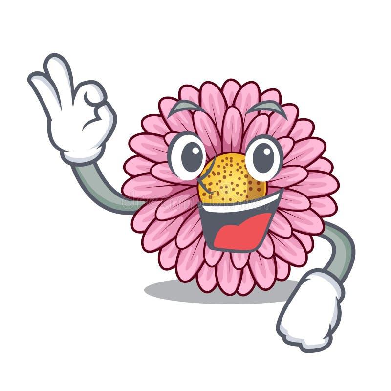 La fleur correcte de gerbera colle la tige de mascotte illustration libre de droits