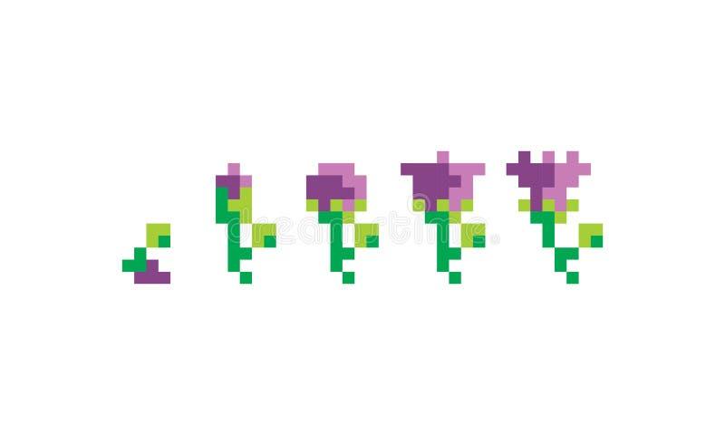 La Fleur Dart De Pixel élèvent Le Logo Dicône De Vecteur