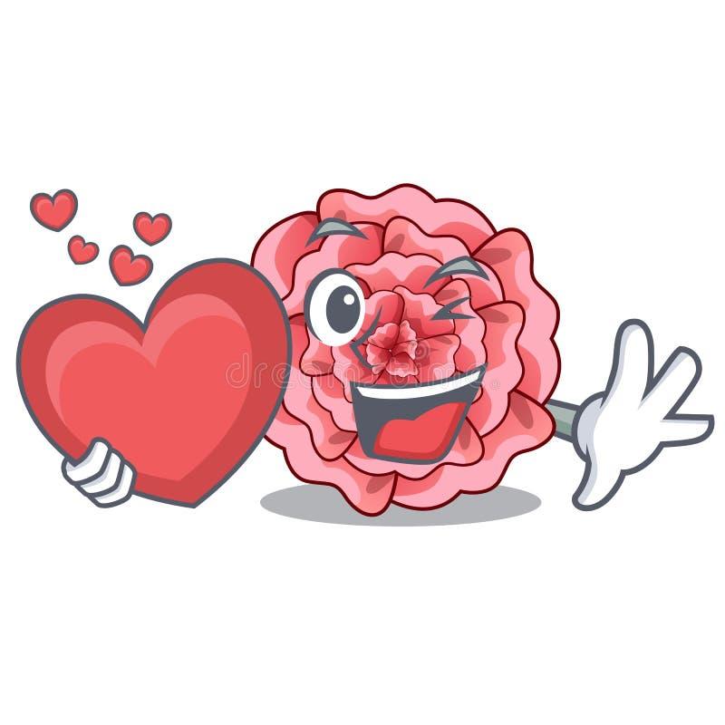 La fleur d'oeillets de coeur étant isolé avec la bande dessinée illustration stock