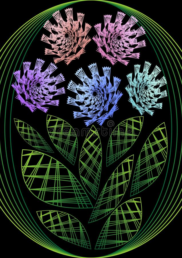 La fleur dans la conception de broderie, imagination multicolore fleurit sur le fond noir Décoration peu commune de flourish illustration libre de droits