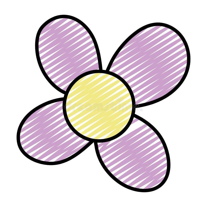 La fleur de beauté de griffonnage avec les pétales exotiques conçoivent illustration libre de droits