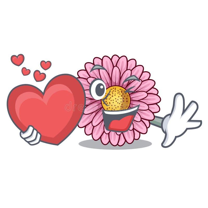 La fleur de gerbera de coeur étant isolé dans la bande dessinée illustration libre de droits