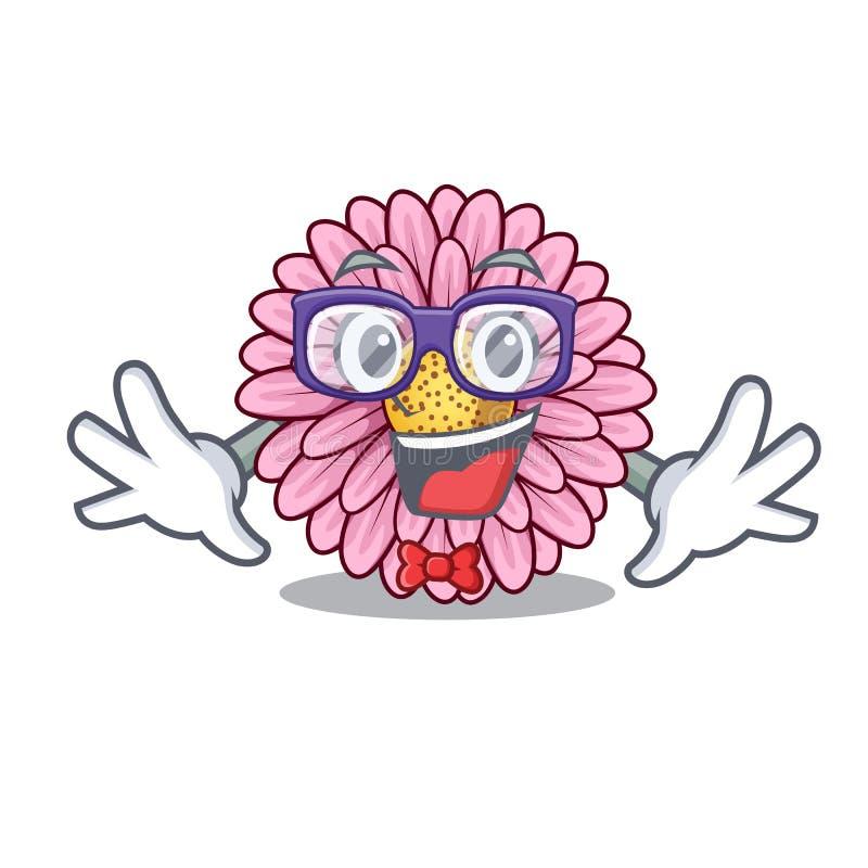 La fleur de gerbera de connaisseur colle la tige de mascotte illustration stock