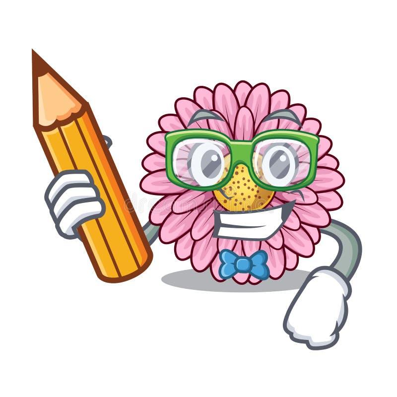 La fleur de gerbera d'étudiant colle la tige de mascotte illustration libre de droits