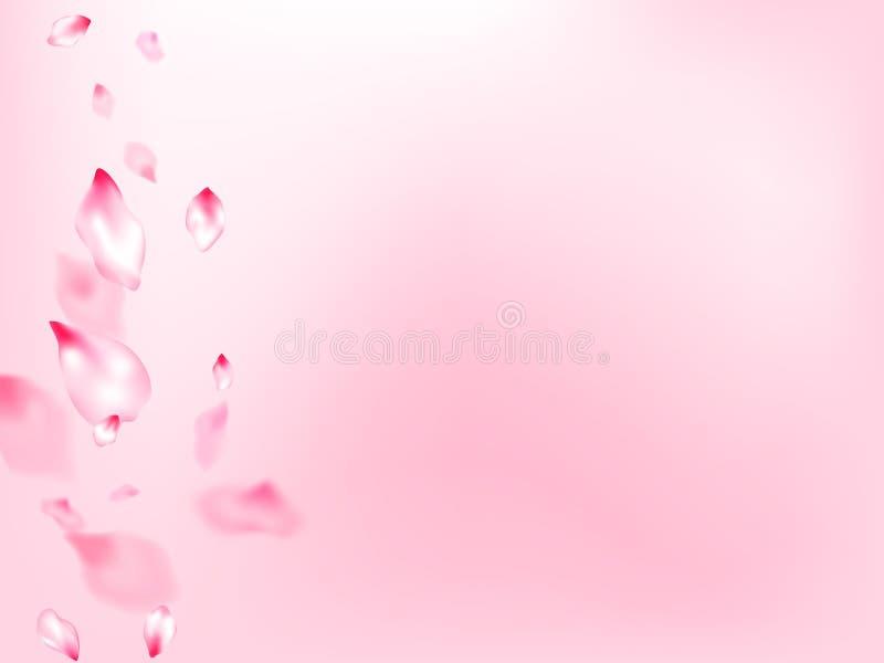 La fleur de ressort a isolé le vol de pétales illustration libre de droits