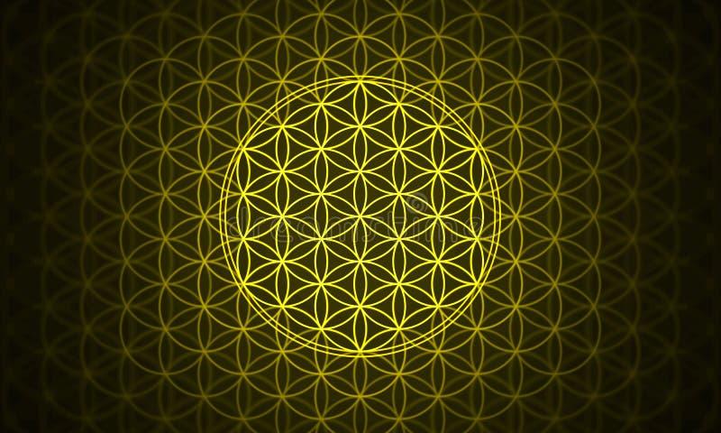La fleur du jaune de symbole de la vie illustration de vecteur