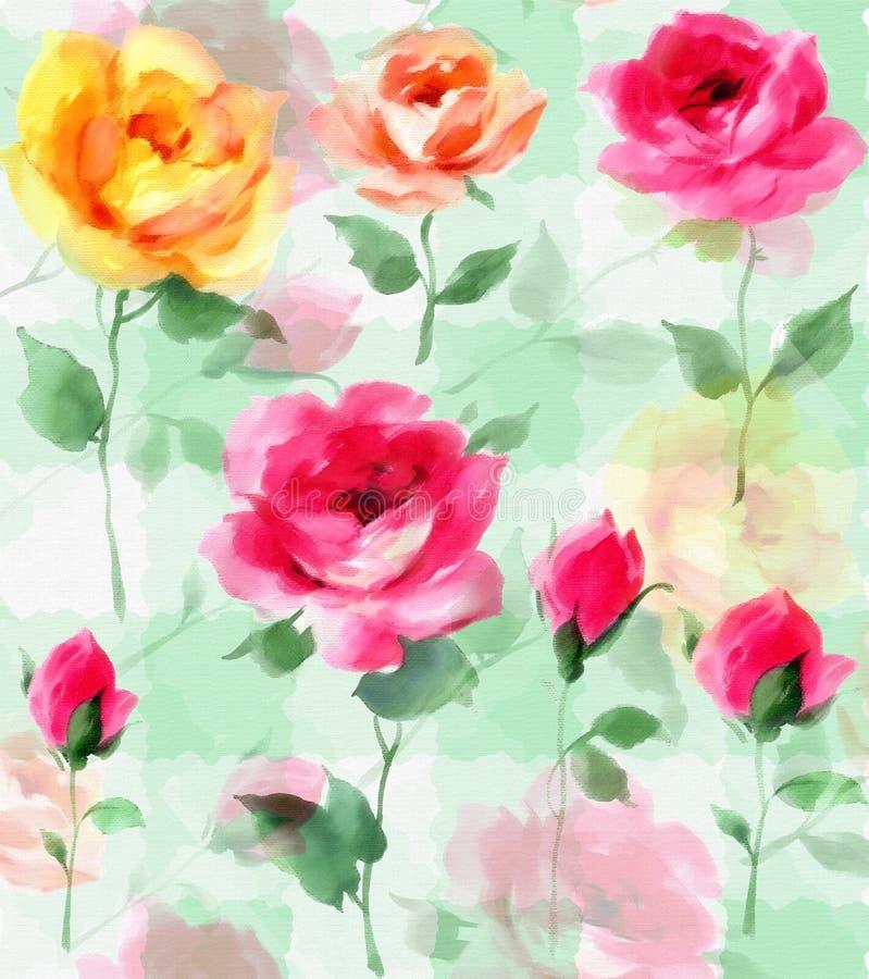 La fleur impressionniste de Rose de peinture à l'huile fleurit le modèle sans couture illustration stock