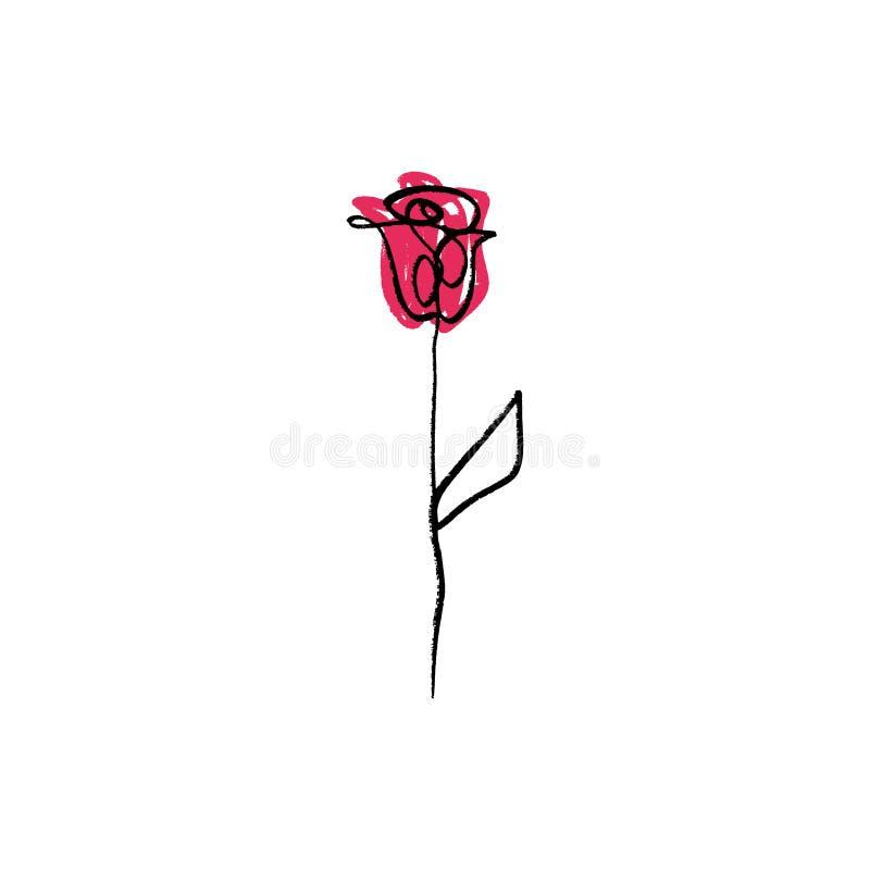La fleur minimaliste de découpe s'est levée dessin Un schéma illustration de vecteur