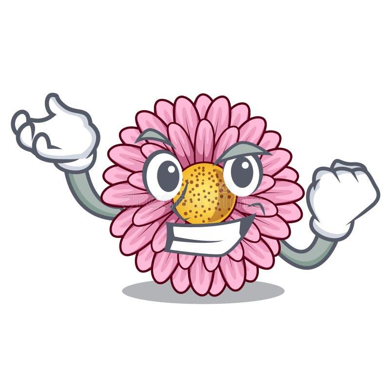 La fleur réussie de gerbera colle la tige de mascotte illustration de vecteur