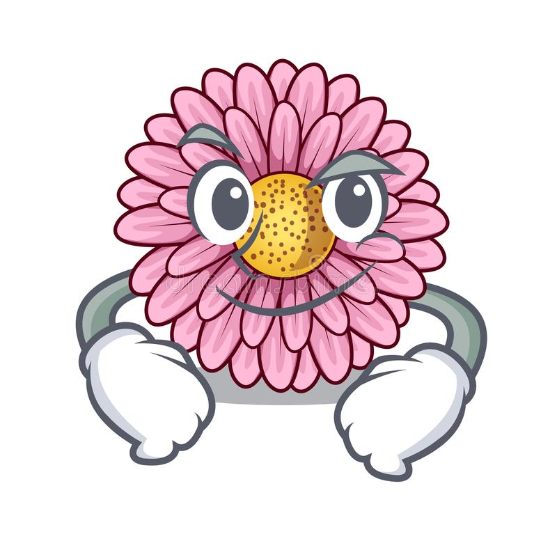 La fleur souriante d'un air affecté de gerbera colle la tige de mascotte illustration libre de droits