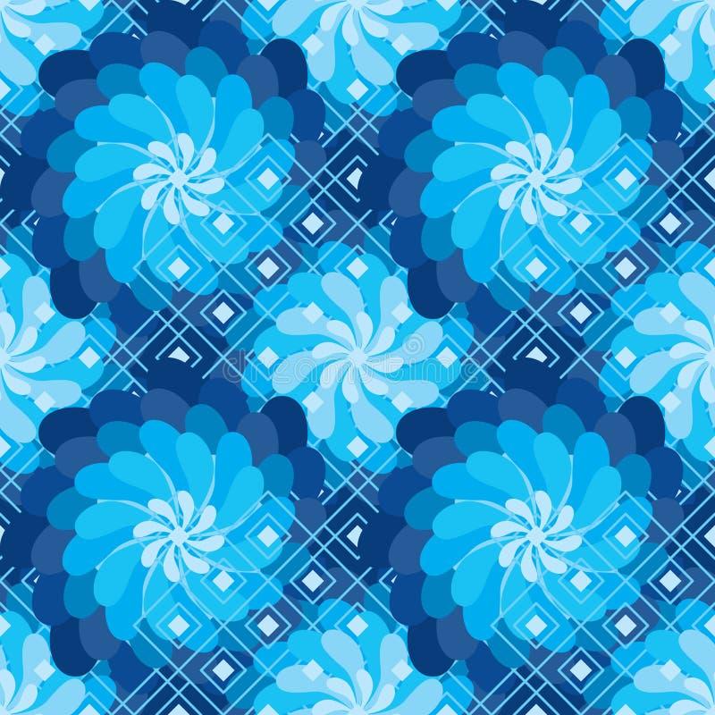 La fleur tournent le modèle sans couture de forme bleue de diamant de moulin à vent illustration stock