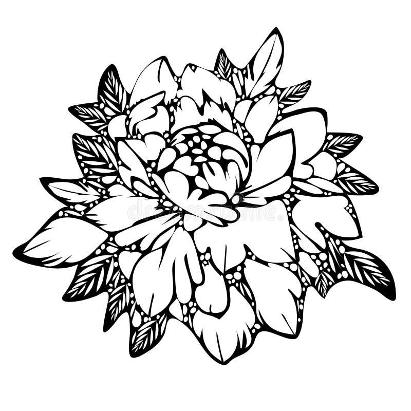 La flor abstracta, brote blanco y negro se va, monocromático Bosquejo del tatuaje, impresión, libro de colorear, garabato, elemen ilustración del vector