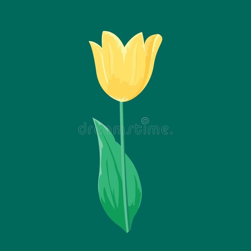 La flor amarilla del tulipán del vintage se puede utilizar como tarjeta de la invitación de la tarjeta de felicitación para casar ilustración del vector