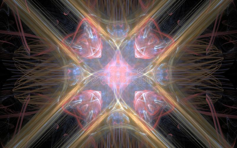 La flor cósmica abstracta con cuatro pétalos pica el centro en un fondo negro libre illustration