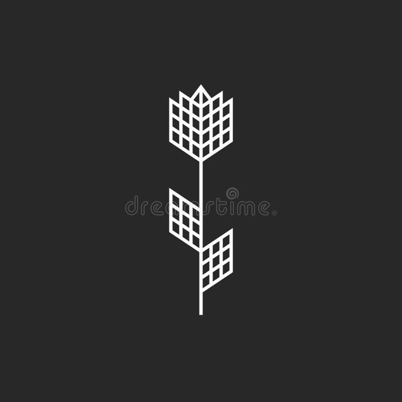 La flor creativa del logotipo de Rose con las hojas diseña, emblema simple de la tienda del perfume, líneas finas formas geométri ilustración del vector