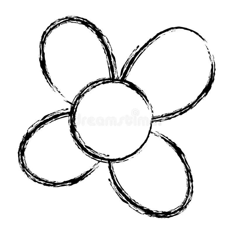 La flor de la belleza del Grunge con los pétalos exóticos diseña ilustración del vector
