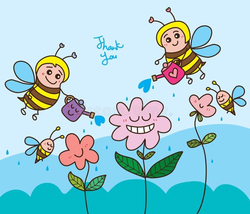 La flor del agua de la abeja feliz le agradece stock de ilustración