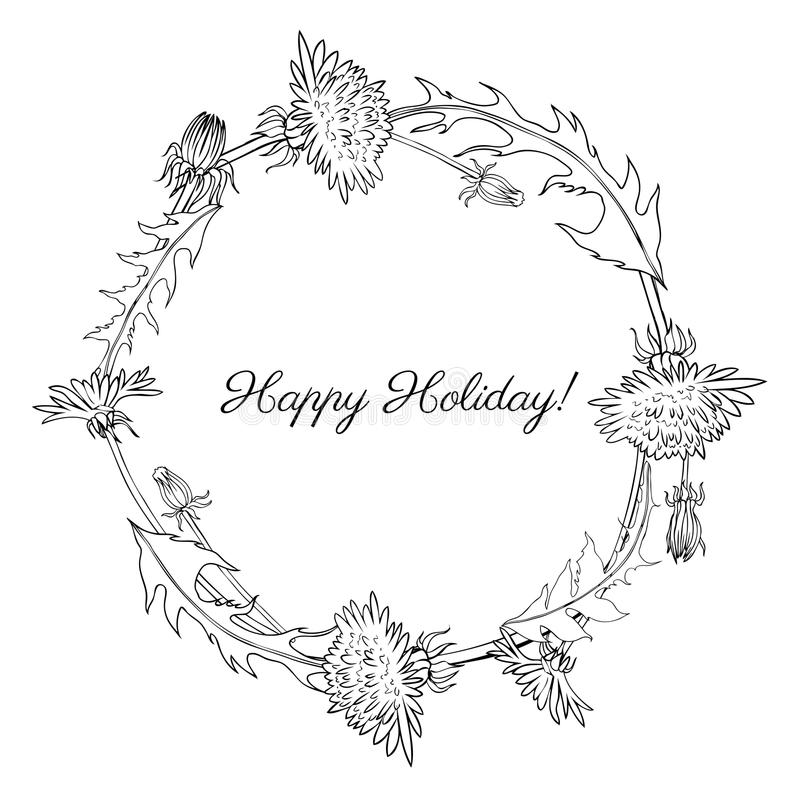 La flor del diente de león, brote, deja bosquejo dibujado mano de la tinta aislado en el fondo blanco, línea floral redonda arte  stock de ilustración