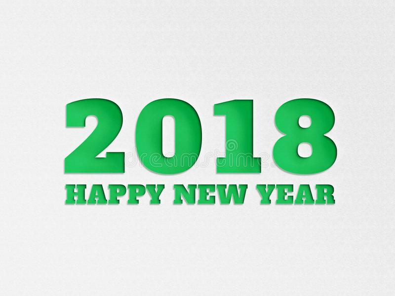 La flor del fondo de la bandera del papel pintado de la Feliz Año Nuevo 2018 con el papel cortó efecto en color verde imagen de archivo