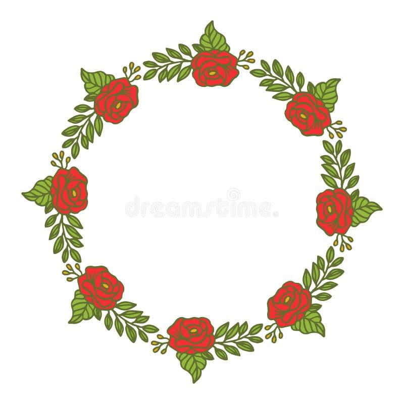 La flor del marco del ejemplo del vector subió fondo blanco aislado rojo ilustración del vector