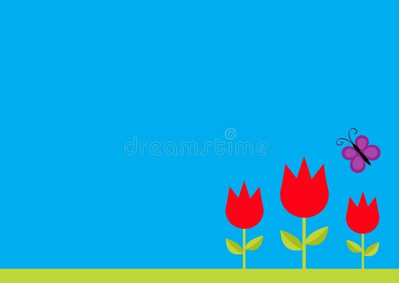 La flor del tulipán de tres rojos fijó con la hoja y el insecto de la mariposa del vuelo Plantilla simple de la etiqueta engomada ilustración del vector