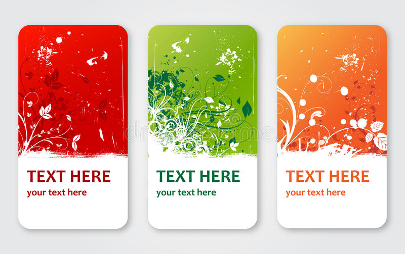 La flor del vector de Grunge etiqueta banderas o tarjetas de la visita libre illustration
