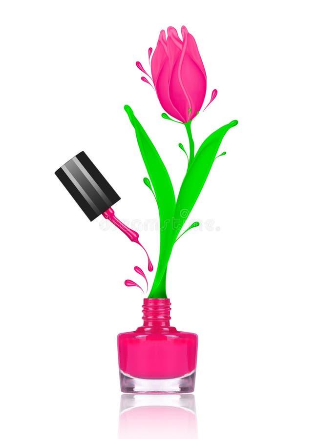 La Flor Estilizada Del Tulipán Hecha Con Salpica De Esmalte De Uñas ...