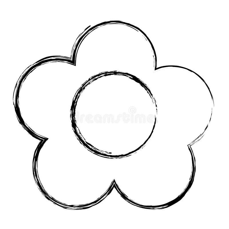 La flor exótica de la belleza del Grunge con los pétalos diseña ilustración del vector