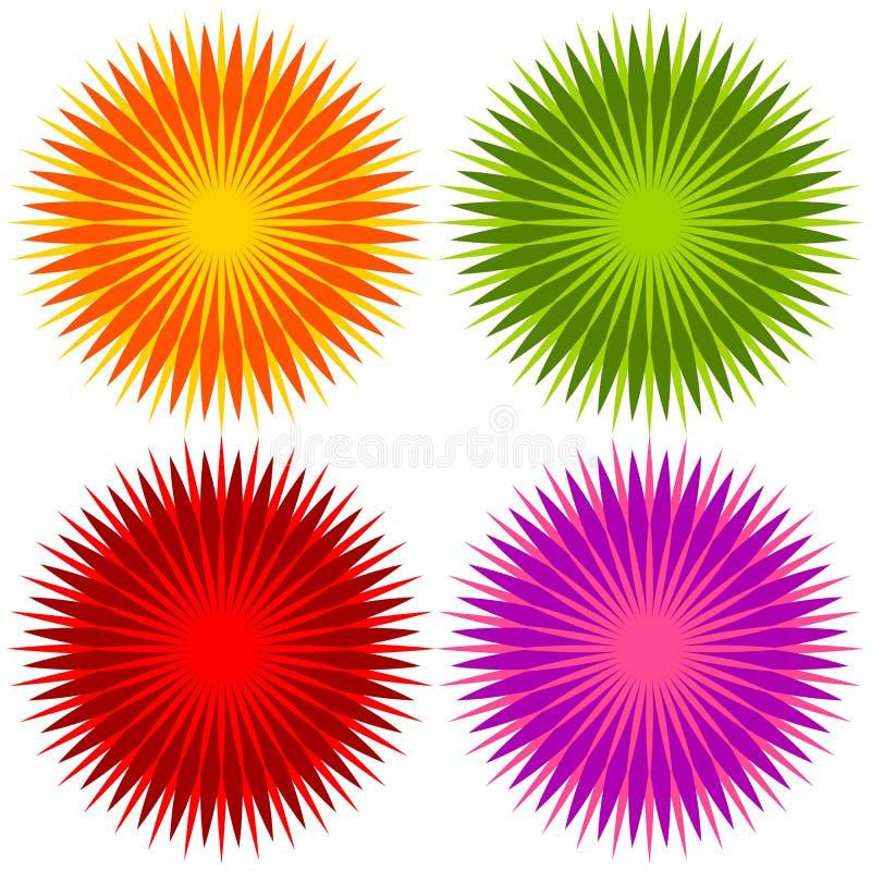 La flor geométrica abstracta forma, sistema de elementos de 4 colores libre illustration
