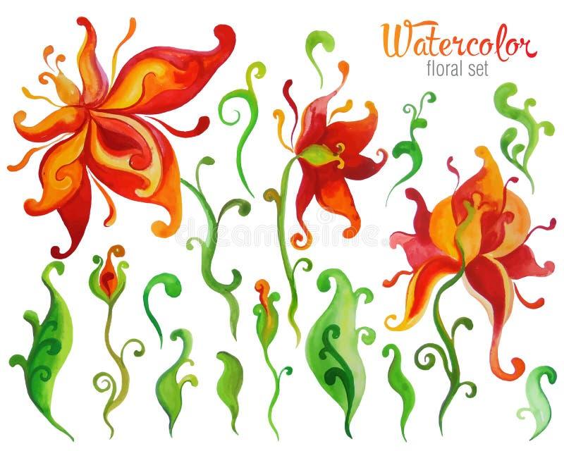 La flor hermosa de la fantasía de la acuarela fijó sobre el fondo blanco FO ilustración del vector