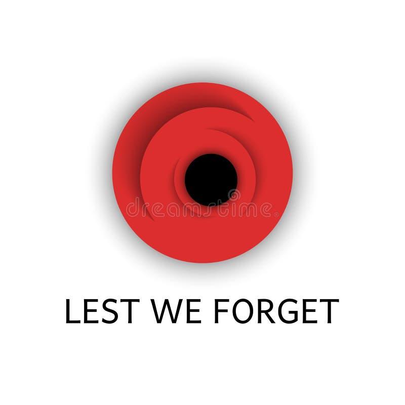 La flor roja de la amapola con el texto a fin de olvidemos, la amapola del día de la conmemoración es un símbolo de la flor ar stock de ilustración
