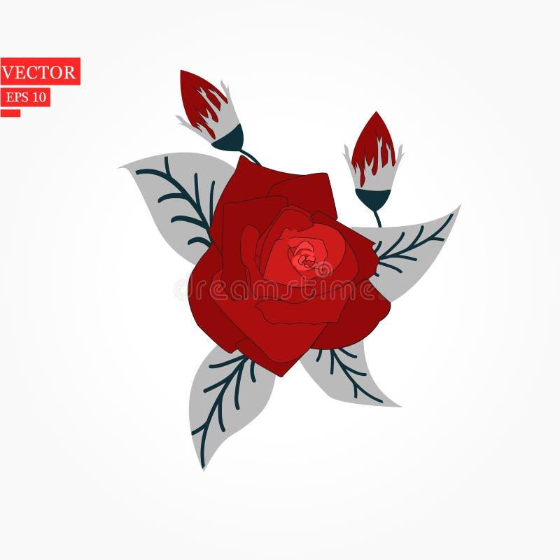 La flor subió, los brotes rojos y las hojas verdes Aislado en el fondo blanco Ilustración del vector stock de ilustración