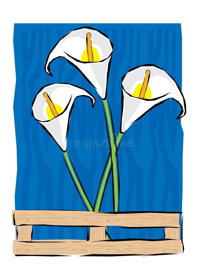 La flor tropical abstracta, ejemplo botánico, amapola decorativa, hojas de la voluta, elemento del clip art aisló ilustración del vector