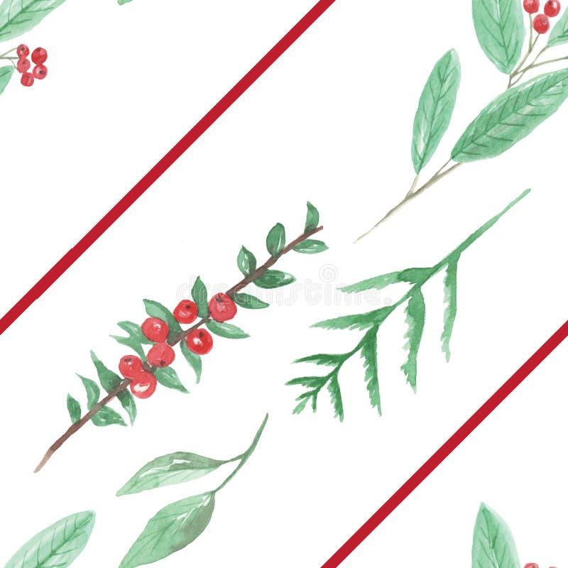 La flor verde roja de las bayas del Watercolour sale la Navidad de días de fiesta inconsútiles del modelo festivos libre illustration