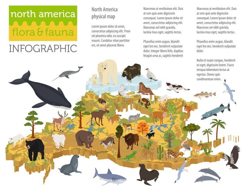 La flora isométrica y la fauna de 3d Norteamérica trazan elementos Animales libre illustration