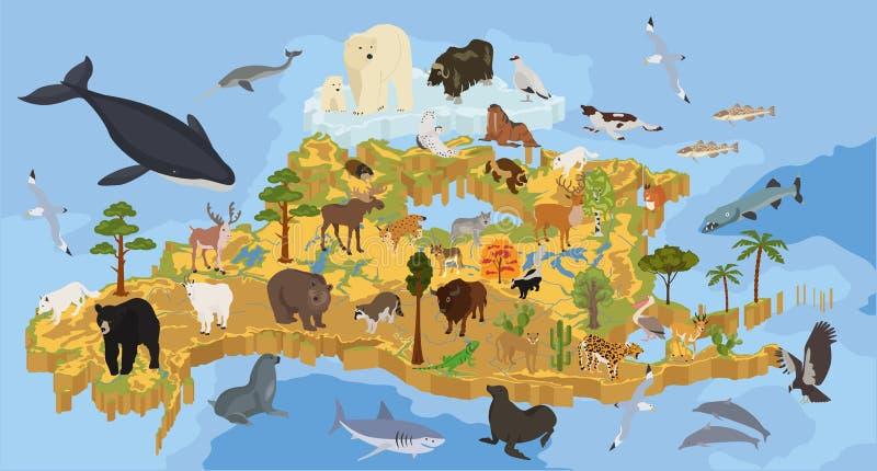 La flora isométrica y la fauna de 3d Norteamérica trazan elementos Animales ilustración del vector