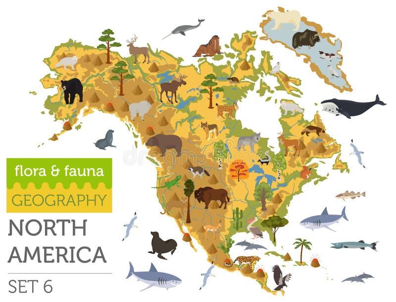 La flora y la fauna de Norteamérica trazan, los elementos planos Animales, pájaros libre illustration