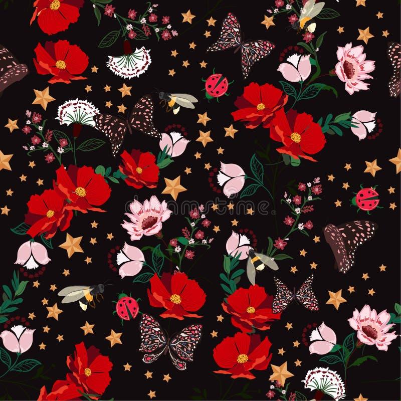 La floración retra oscura florece en la noche con el insecto, abejas, mantequilla stock de ilustración